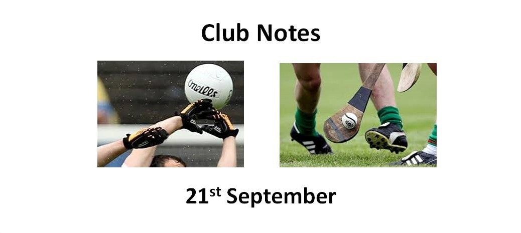 Club Notes 21st Sept