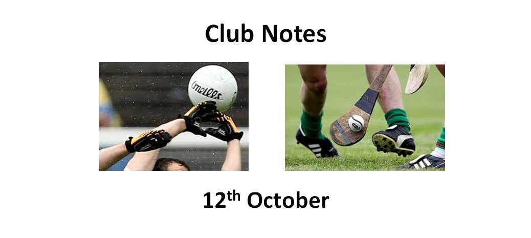 Club Notes 12th Oct