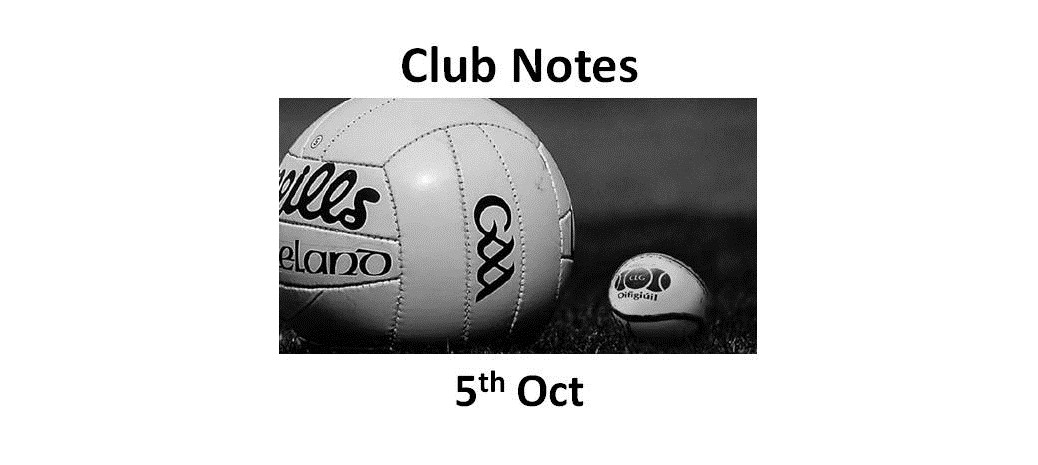 Club Notes 5th Oct