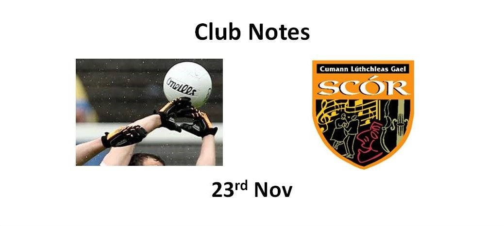 Club Notes 23rd Nov