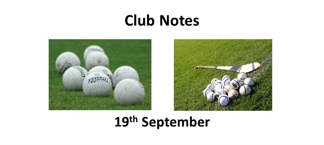 Club Notes 19th Sept