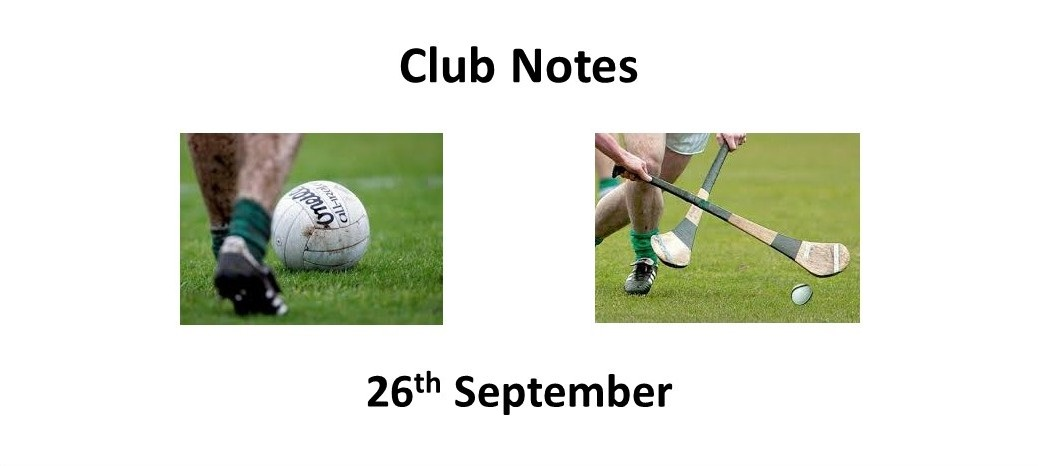 Club Notes 26th Sept