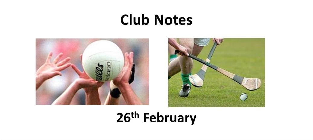 Club Notes 26th Feb 2018