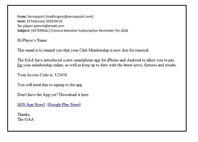 GAA App - email