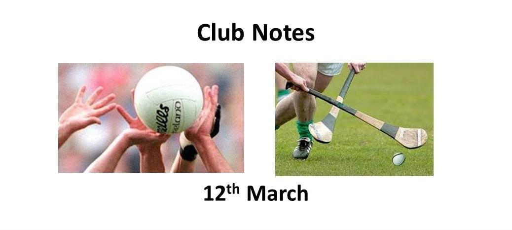 Club Notes 12th Mar 2018