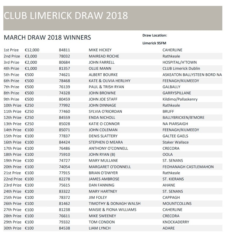 Club Limerick Draw Winners 201803
