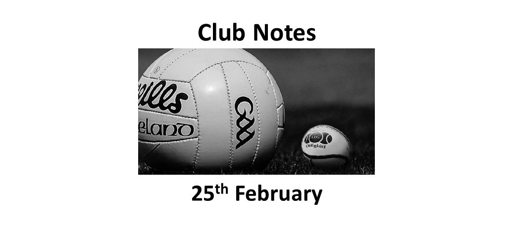 Club Notes 25 Feb 2019