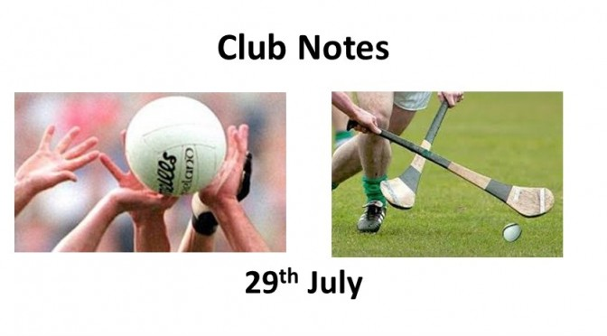 Club Notes 29th July 2019