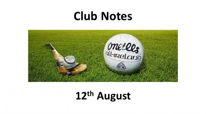 Club Notes 12th August