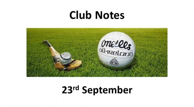 Club Notes 23rd Sept