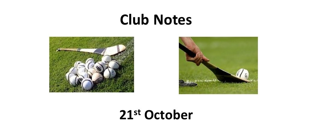 Club Notes 21st October 2019