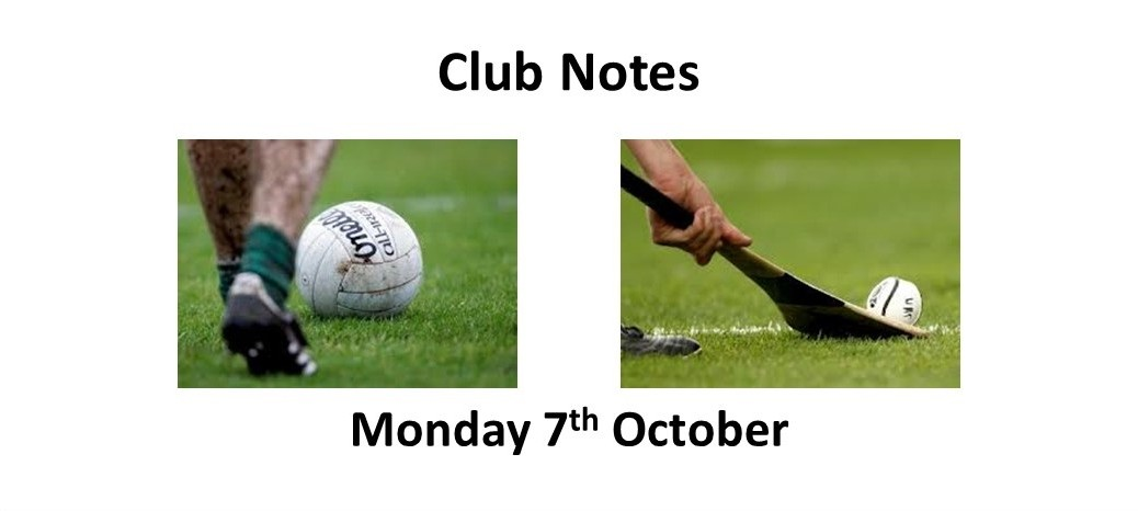 Club Notes 7th October 2019