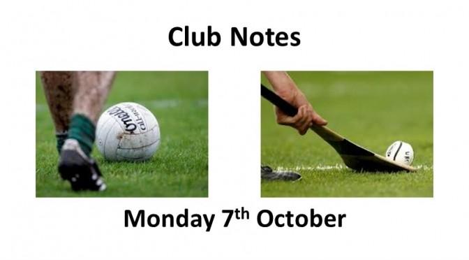 Club Notes 7th October 2019