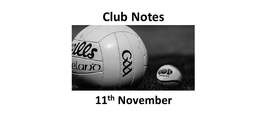 Club Notes 11th November 2019
