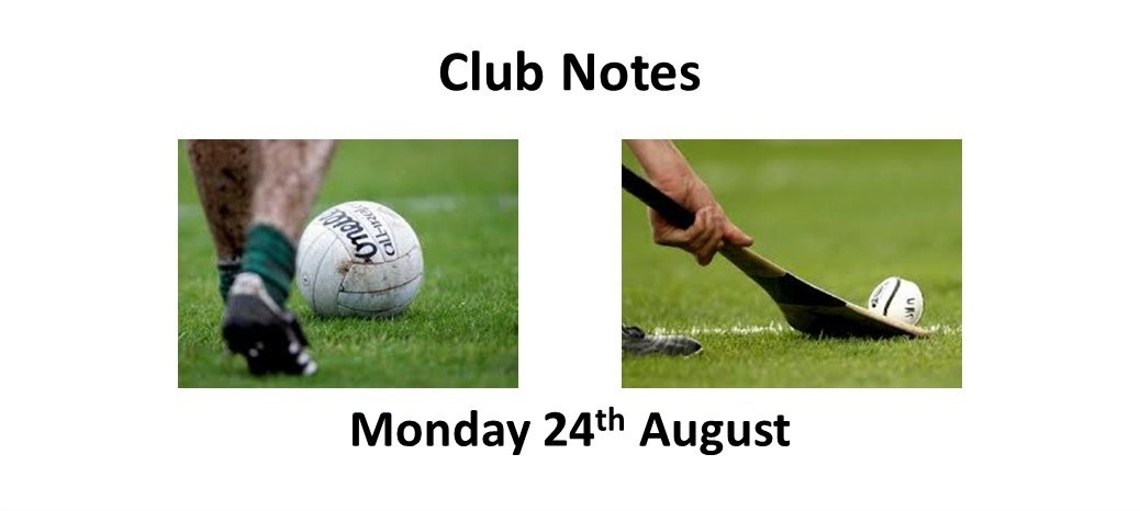 Club Notes 24th August 2020