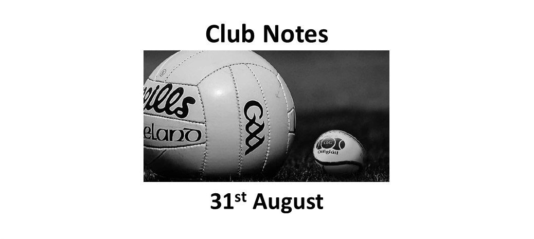 Club Notes 31st August 2020