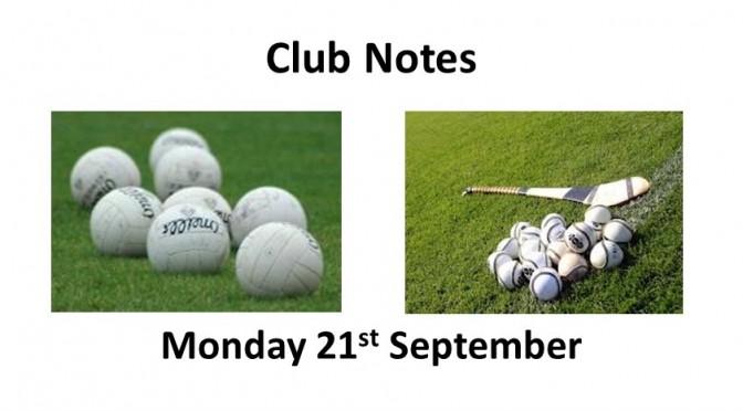 Club Notes 21 Sept 2020