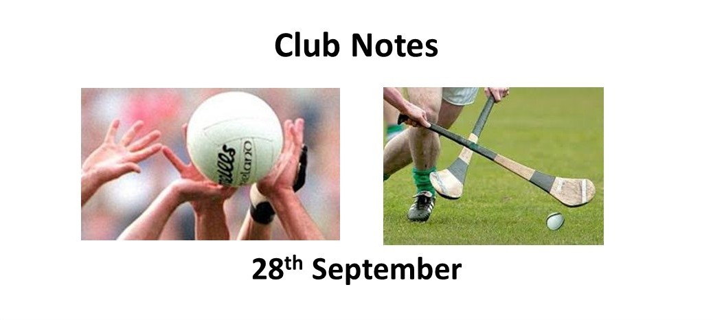 Club Notes 28th Sept 2020