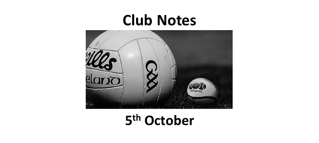 Club Notes 5th October 2020