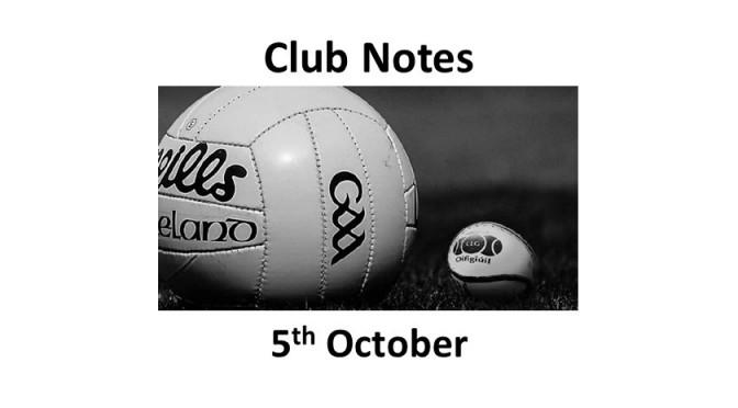 Club Notes 5th October 2020