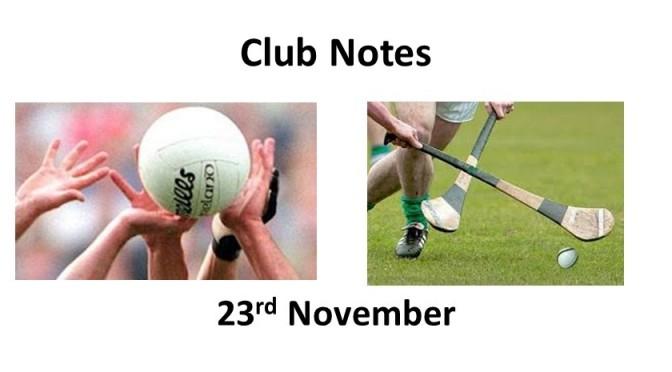Club Notes 23rd Nov 2020