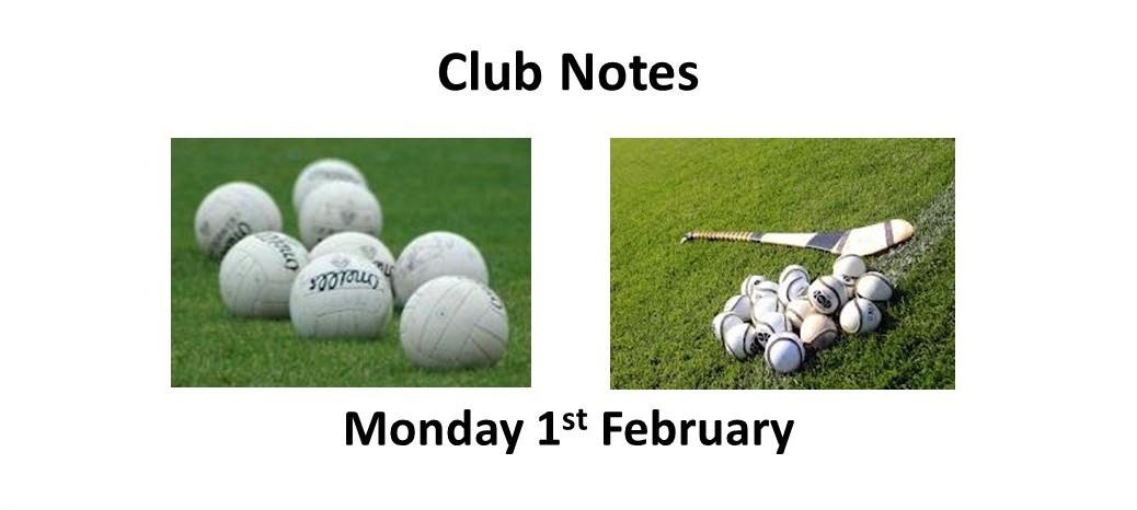 Club Notes 1 Feb 2021