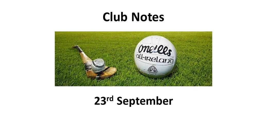 Club Notes 23 Sept 2021