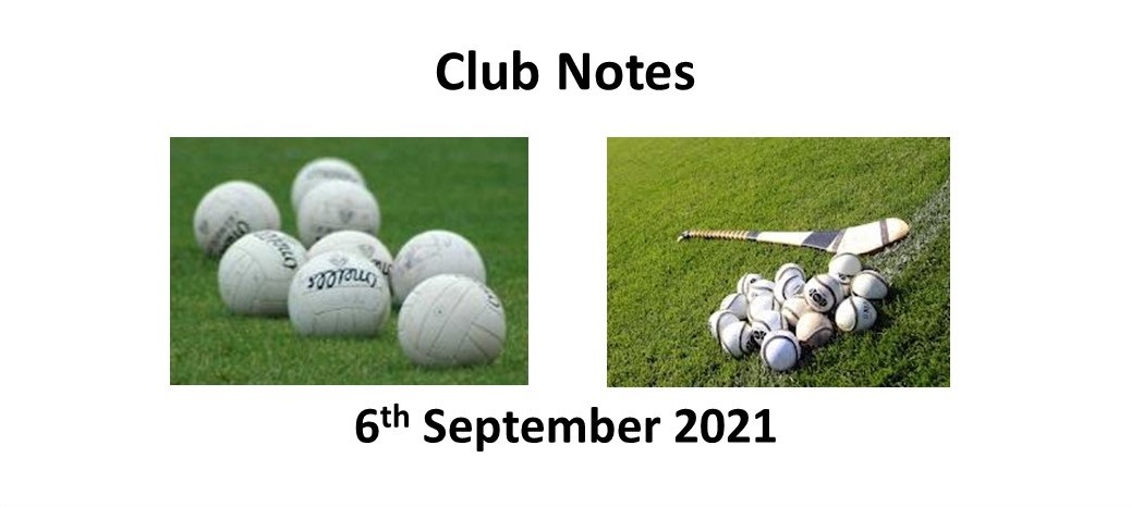 Club Notes 6th September 2021