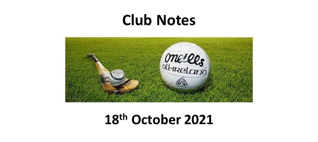 Club Notes 18th October 2021