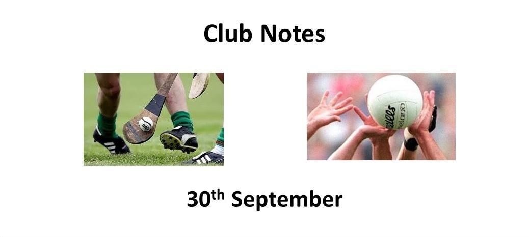 Club Notes 30 Sept 2021