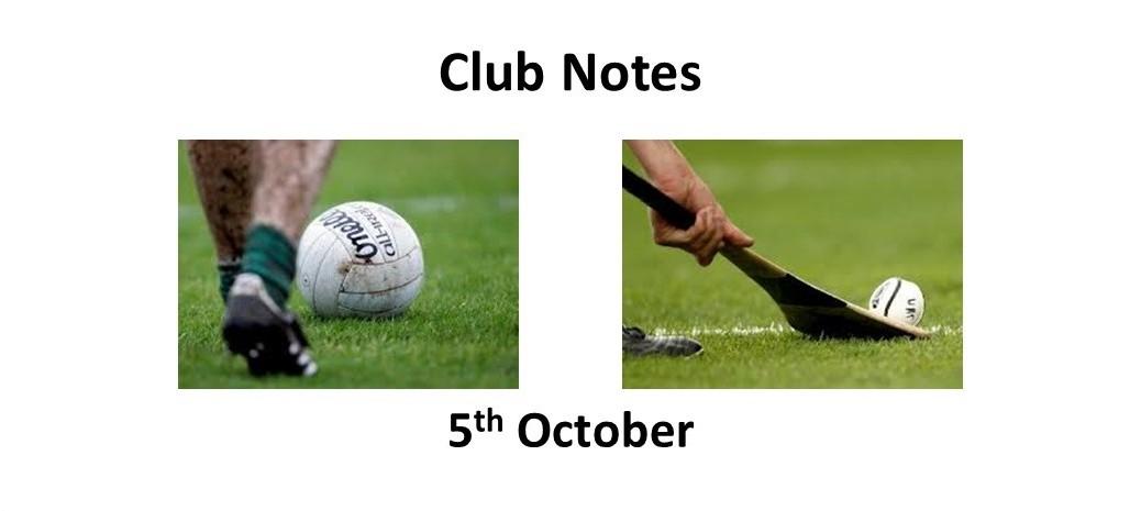 Club Notes 5th October 2021